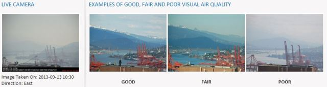 Air quality east fr Vancouver Harbour 13-Sept-2013, 10-30am
