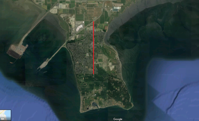 Tsawwassen Google satellite view Mar 2019 - RED LINE